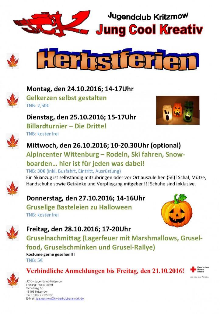 Herbstferienprogramm Aushang